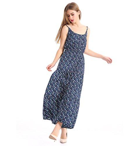 Surenow Robe Dress Femme Floral Imprimé Longue en Mousseline de Soie Sans Manches Bleu pour Eté Bleu