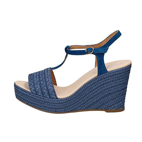CARMEN SAIZ sandali donna 40 EU blu camoscio tessuto AF999