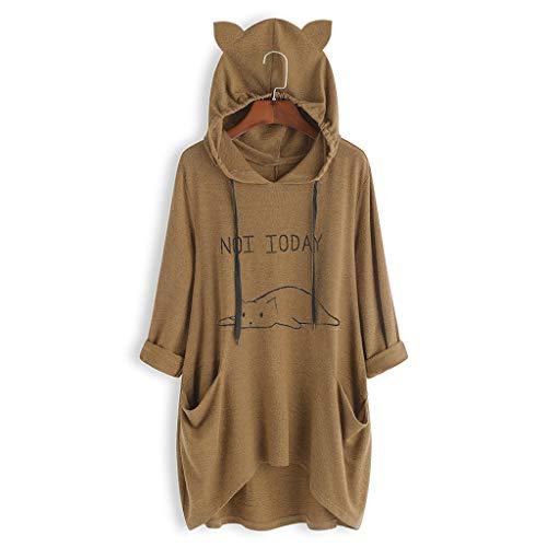 Produp Mode Frauen T-Shirt Lässig liegende Katze Gedruckt Langarm Katze Ohr Mit Kapuze Sweatshirt Tasche Tops Sweatshirt Bluse Tunika Komfortable Pullover -