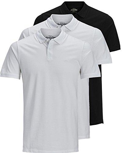 JACK & JONES 3er Pack Herren Poloshirt Slim Fit Kurzarm schwarz weiß blau grau XS S M L XL XXL Einfarbig Gratis Wäschenetz von B46 (3er Pack Mix2, XL) -