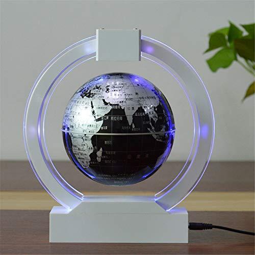 YLOVOW Schreibtischzubehör Globus, Sender Floating Globe mit LED-Leuchten C-Form Magnetschwebebahn Floating Globe-Weltkarte für die Schreibtischdekoration,Silver,Sphereemitslight (Acryl-globus-leuchte)