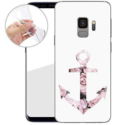 TPU Handyhülle für Dein Samsung Galaxy S9 von finoo Made In Germany Hülle mit Motiv für Optimalen Schutz Silikon Tasche Case Cover Schutzhülle für Dein Samsung Galaxy S9-Blumen Anker