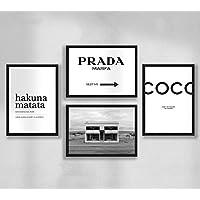 Décoration Murale - Set de Poster Premium affiches murales pour salon, format A4 sans cadre, Prada Marfa, Coco, Hakuna Matata