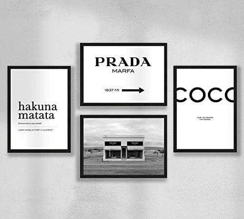 Decorazione da parete - Poster da parete Set di poster premium per soggiorno, formato A4, senza cornice, Prada Marfa, Coco, Hakuna Matata