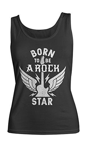 Born To Be A Rock Star Music Guitar Damen Tank Top Ärmellos Muskelshirt Schwarz X-Large (Fitted Tank-top Star Womens)