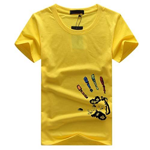 Crazboy Herren Sommer Neu Style Fashion Kreis Kragen gedruckt kurzen Ärmeln Bluse Top(XX-Large,Gelb-A) - Little Me-jungen-pyjamas