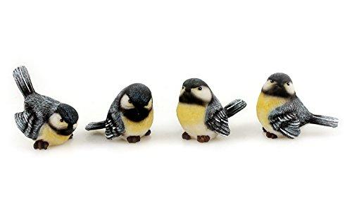 4x Deko Figur Vogel Vögelchen Kohlmeise zum Stellen im Set, 6,5 x 5 cm aus Polystein blau weiß gelb, Dekofigur Meise Vögel Dekovögel