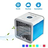Luftkühler, Milai Office Home USB-Mini-Luftkühler tragbare Klimaanlage Luftkühler 3 in 1 Tragbare Mini Mobile Klimageräte Luftbefeuchter und Luftreiniger mit 7 Farben LED-Atmosphäre Lichter