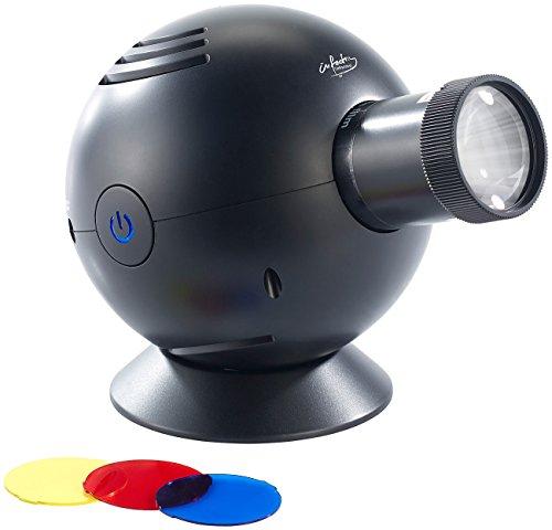 infactory Analoge Projektionsuhren: LED-Uhrenprojektor mit 3 Farbfiltern (blau, gelb, rot) (Projektor Wanduhr)