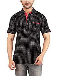 Yukth All Over Printed Half Sleeve Polo T-shirt For Men's