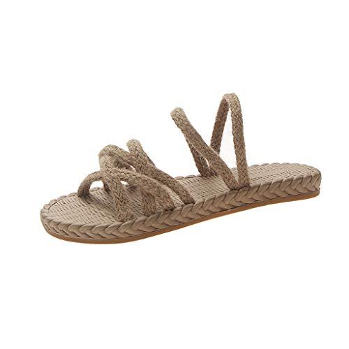 Mitlfuny Damen Sommer Sandalen Bohemian Flach Sandaletten Sommer Strand Schuhe,Sommermode Damen vielseitig gewebt Flache Hausschuhe lässig Strandschuhe -