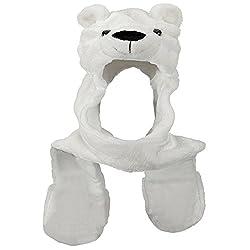 Honeystore Unisex Faux Fur 3 in 1 Function Animal Hoodie Hat Paw Mittens Gloves
