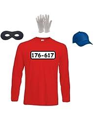 Panzerknacker Kostüm Herren Longsleeve T-Shirt+Cap+Handschuhe+Maske