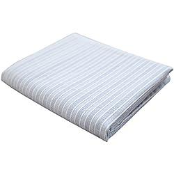 lililili Mantel Rectangular de algodón con Rayas, Ideal para Grandes Eventos y Uso doméstico Regular, Lavable a máquina, Azul Claro, 140x220cm(55x87inch)