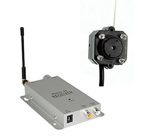 Galleria fotografica WEIDE - foro Mini Wireless tata Spy telecamera nascosta Pin fotocamera Micro Cam completa sorveglianza sistema di sicurezza CCTV con Video e voce Reciever