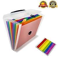 Folder a4 Filing Folder Organiser Plastic Expanding File Folders 13 Pockets Portable Handle Multicolor High Capacity Expandable Accordion Folder Document Storage Letter Size a-z Folder