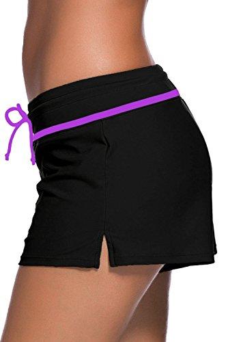 Aleumdr Damen Wassersport UV-Schutz Schwimmen Badehose Bikinihose Badeshorts Schwimmshortse Schwarz und lila X-Large