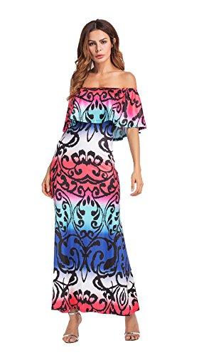 Clasichic Damen Off Shoulder Blumenkleid Sommer Schulterfrei Strandkleid Druck Clubwear Beachwear Lang Maxikleid Kleider mit Volant Rot