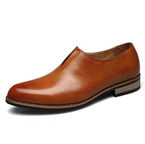 Brock-Männer spitzen Slip Wear-Stil britischen Freizeitschuhe Mode atmungsaktive low-top Schuhe Business Party flach atmungsaktiv tragen,Brown,44