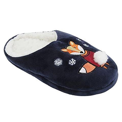 Damen Hausschuhe mit weihnachtlichem Tier-Design (41-42 EU) (Marineblau)