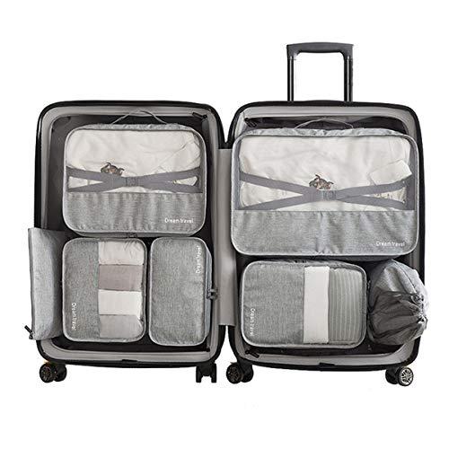 Set 7 Cubi per imballaggio -3 Cubi per imballaggio + 2 buste + 1 busta per biancheria intima + 1 borsa per scarpe(Grey)