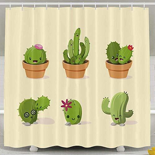 Uykjuykj Cute Cactus Shower Curtain,Waterproof Polyester Shower Curtain Sets Bathroom Accessories