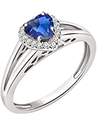 Silvernshine 7mm Heart Cut Sapphire & Sim Diamond Halo Engagement Ring In 14K White Gold Plated