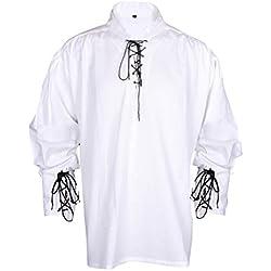 MyGothicShop - Camisa casual - Asimétrico - para hombre blanco blanco Small