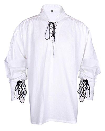 Renaissance beiläufige Sommer-Piraten-Hemd-Weiße Farbe Mittelalterlichen Kostüme Männer (S)...