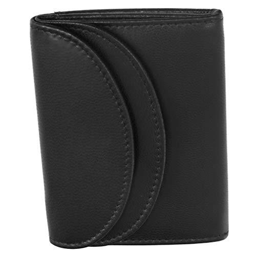 Fa.Volmer ® RFID Minibörse aus Echt-Leder - Kleine Geldbörse in schwarz mit Hightech-Silbergewebe #Mini-Comfort