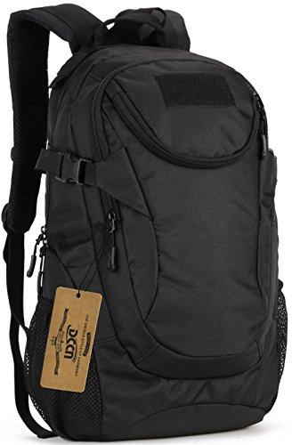 DCCN Sac à Dos Tactique 25L Molle Schoolbag Daypack Mini Sacs à Dos de Trekking avec Housse de Pluie Noir