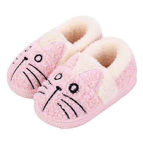 Zapatillas de Estar por Casa para Niñas Niños Invierno Zapatillas Interior Casa Caliente Pantuflas Suave Algodón Calentar Zapatilla Mujer Hombres Rosa2 30-31 EU (Fabricante: 210)