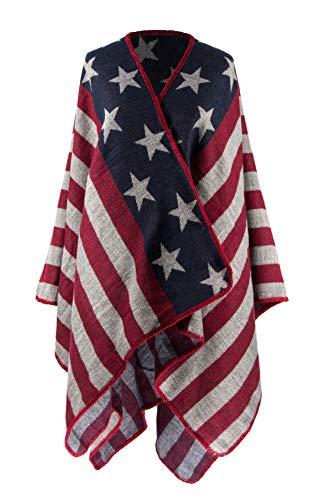 MANUMAR Ponchos für Damen | Cape in blau weiß rot USA Flaggen Motiv | Überwurf Cape | Umhang | Wendeponcho Perfektes Herbst/Frühling/Winter Accessoire | - Usa Cape