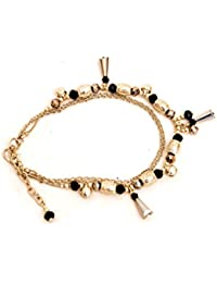 Zurri Black And Gold Double Layered Beaded Anklet