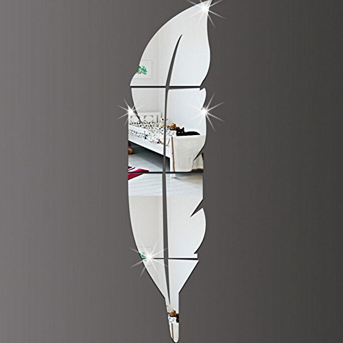 KE 6pcs fai da te = 1 piuma superficie dello specchio Wall Stickers cristallo acrilico 3D si dirigono la decalcomania Soggiorno Murales Wallpaper Decor (6PCS=1 Feather Mirror = Silver)