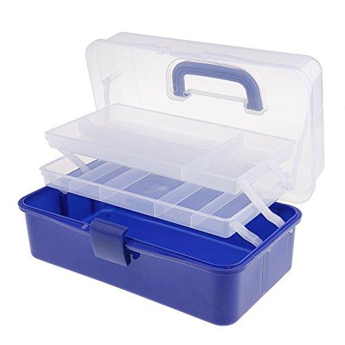Nagellack Fach (sharplace Kunststoff 3Ebenen Lagerung Organizer Fach Werkzeug Container Aufbewahrungsbox Fall Nagellack Jewelry Arts & Craft Halter w/Griff blau)