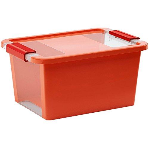 Kis 8452000 0123 01 scatola Bi Box, 11 L, in plastica, arancione/trasparente, 36,5 x 26 x 19 cm