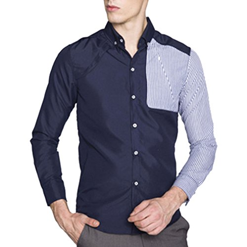 Honghu Homme Casual Slim Fit Manches Longues Commerce Chemise Bleu Marine