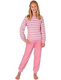 2c03eded51 Kuscheliger Mädchen Frottee Schlafanzug Pyjama langarm mit Bündchen  Streifenoptik 53568