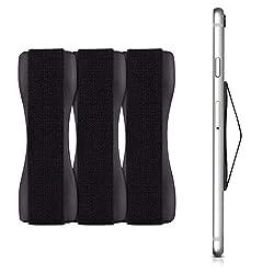 kwmobile Smartphone Fingerhalter 3er Set - Handy Halter Griff Halterung Einhandbedienung - 3X Handyhalter in Schwarz