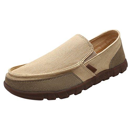 Anguang uomo mocassini sneakers di tela slip on espadrille comodo scarpe da guida cachi 39