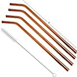 Prisha India Craft Eco-Friendly Bend Drinking Copper Cocktail Straws Set Of 4 With 1 Cleaning Brush, Length 8.50 Inch