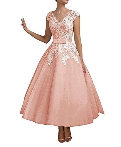 La_mia Braut Damen Perlen Rosa Kurzes Spitze Abendkleider Brautmutterkleider Jugendweihe Kleider A-linie-48 Perlen Rosa