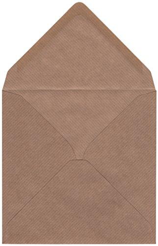Braune Quadratische Umschläge (50 quadratische Kraftpapier-Umschläge (braun, gerippt, 15,5 x 15,5 cm) - passend für quadratische Grußkarten, Einladungen uvm.)