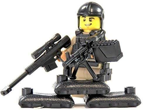 CustomFigur SOLDAT personnalisé Sniper Dark en Tan en Dark LEGO pièces avec accessoires personnalisés avec arme 73db1f