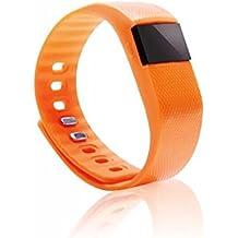 Smart pulsera Fitness Tracker reloj inteligente tw64bluetooth reloj podómetro inalámbrico de banda de pulsera inteligente contador de calorías deporte actividad Tracker para iPhone Samsung Android iOS Teléfono - TW64, Anaranjado