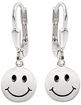 CLEVER SCHMUCK Silberne Ohrhänger 27 mm mit Smiley Ø 12 mm seidenmatt mit Augen und Mund schwarz lackiert STERLING...