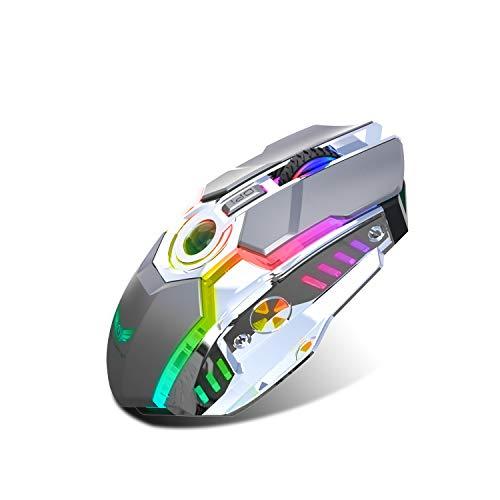Zerodate Kabellose Gaming-Mäuse mit USB-Empfänger und RGB-Hintergrundbeleuchtung, 2,4 G, wiederaufladbar, für Laptop, Computer und MacBook (Gray)