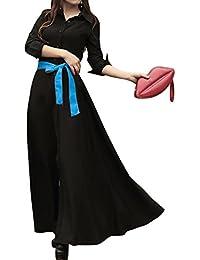 SaiDeng Vestido Para Mujer Bohemian Maxi Manga Larga Con Cinturón Negro XL