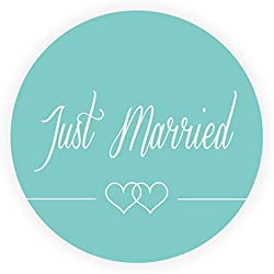 LYLY 48 Piezas Etiquetas Boda Just Married - Ronda 4 cm Diámetro Colorido Doble Corazón Amor Pegatinas Adhesivas para Boda Matrimonio Compromiso Vintage Sobres Sellos Invitación > A904